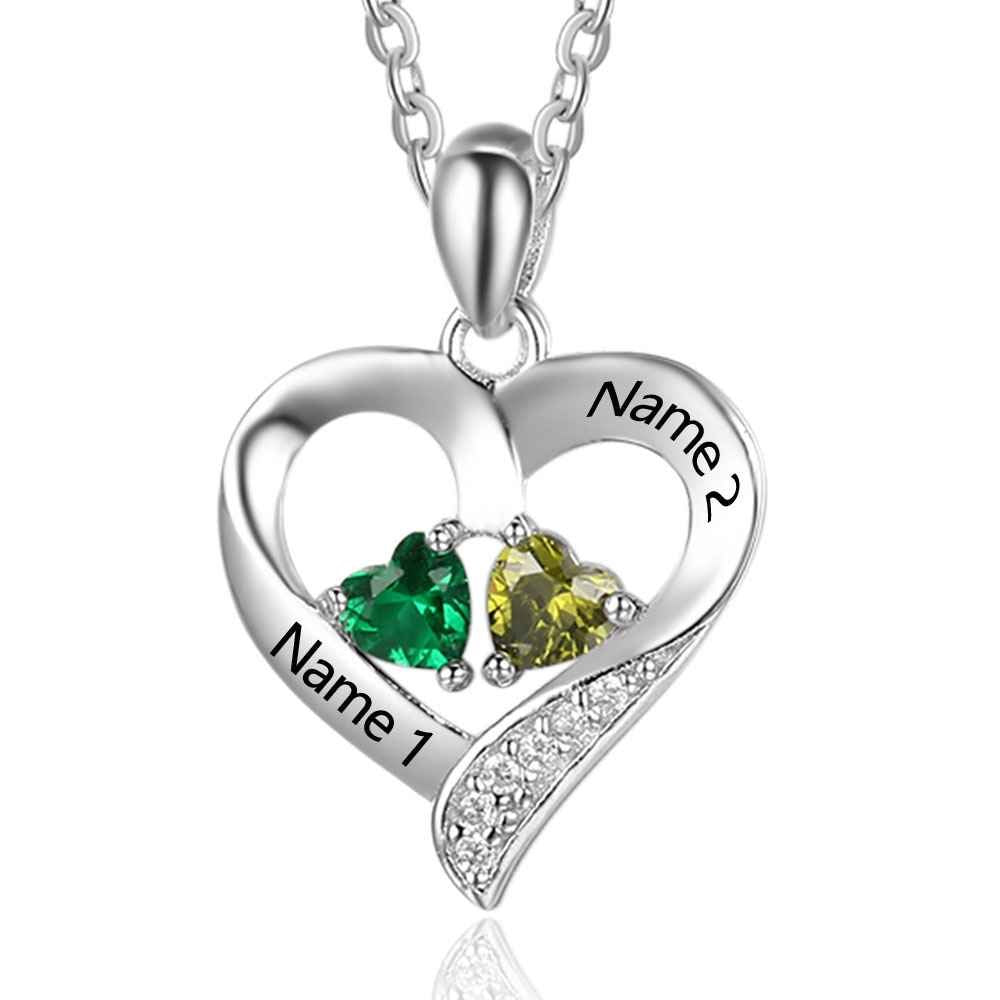 Love Jewelry Personalized 2 Names Necklace with 2 Heart Simulated Birthstone Couple Pendant Necklace for Women