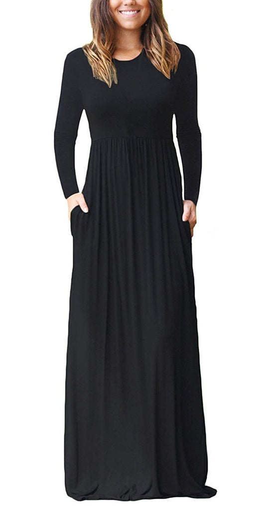 HAOMEILI Women's Long Sleeve Loose Plain Long Maxi Casual Dresses with Pockets