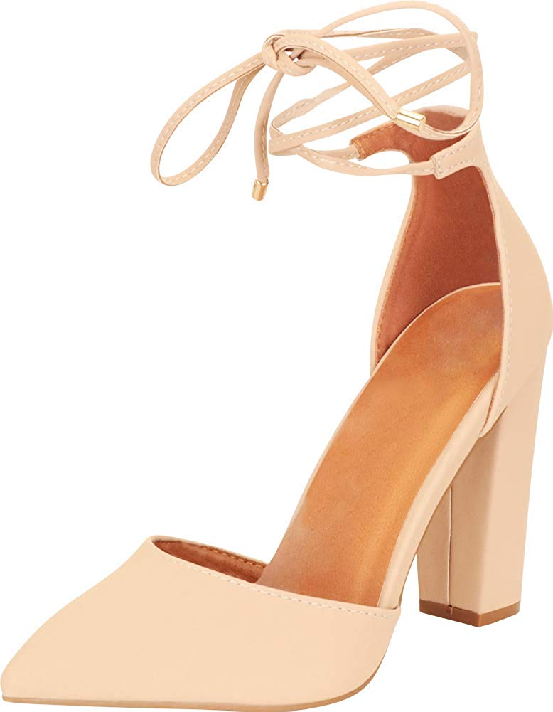 Cambridge Select Women's Closed Pointed Toe D'Orsay Crisscross Wraparound Ankle Tie Chunky Block Heel Pump