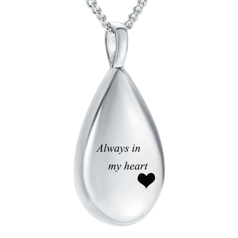 Carved Teardrop Keepsake Ashes Necklace Urn Pendant Cremation Memorial Jewelry
