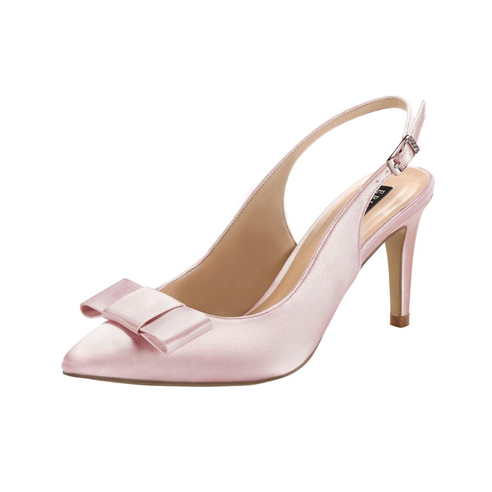 ERIJUNOR Pointy Toe Pumps Mid Heels Wedding Evening Party Prom Slingback Satin Shoes
