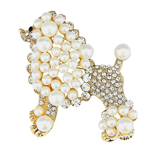 WT Jewelry Sigma Gamma Rho Inspired Gold Toned Pretty Poodle Crystal Brooch