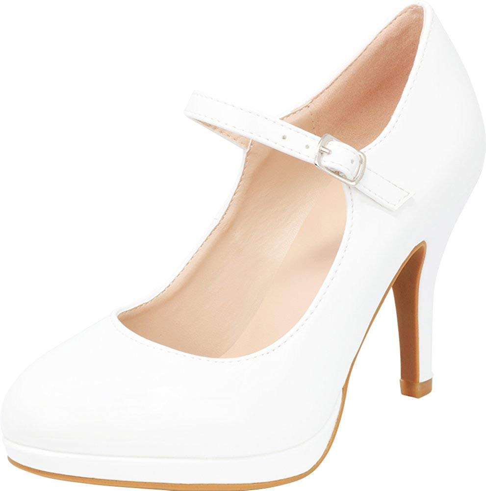Cambridge Select Women's Mary Jane Closed Round Toe Buckled Strap Platform High Heel Pump