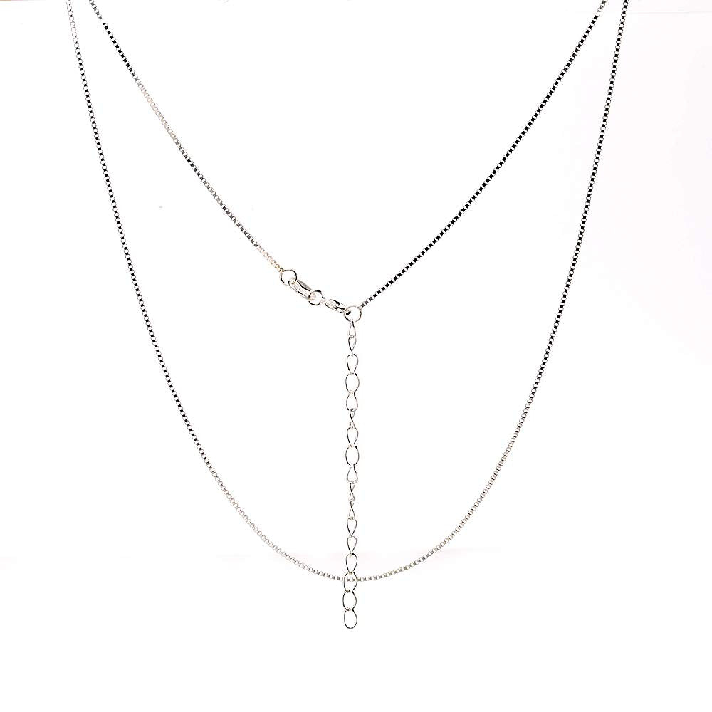 NAGHC 925 Sterling Silver Chain 0.8MM Delicate Box Chain - Italian Necklace Chain - Super Thin & Strong Lovely Chain