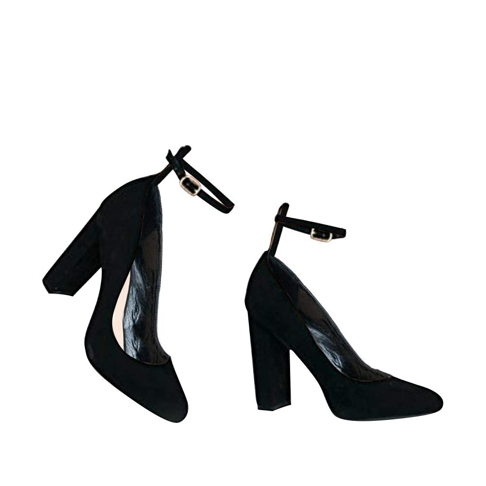 J. Adams Ankle Strap High Heel - Trendy Block Heel Pump - Classic Ankle Buckle Party Shoe - Emery