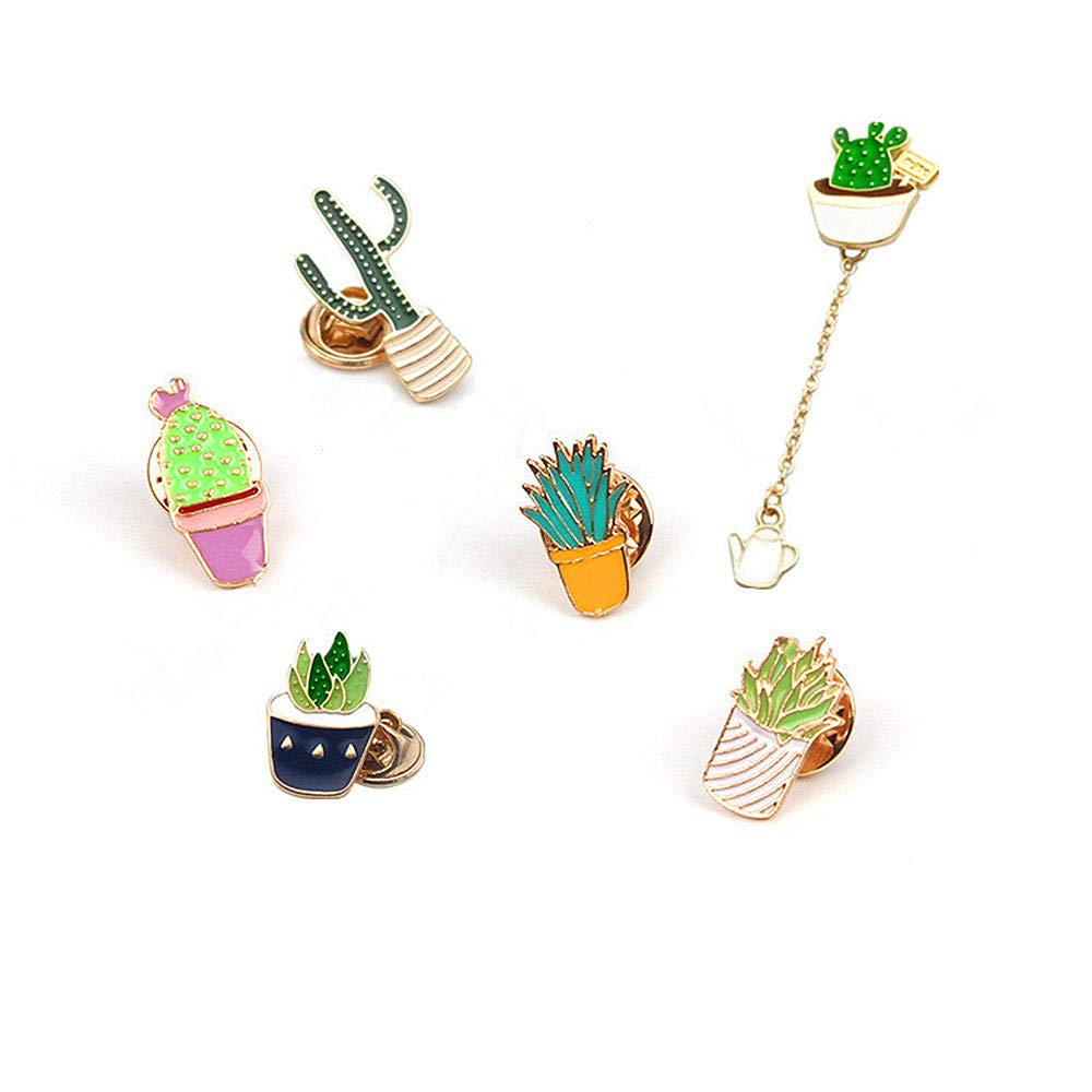 Pin Sets for Backpacks Jackets Clothes Bags Plant Enamel Brooches Lapel Badge Womens Girls Childrens Cactus Cartoon Pins