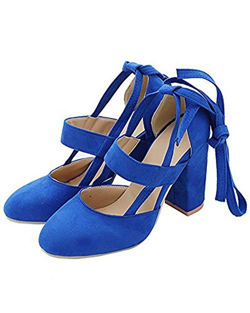 Huiyuzhi Womens Chunky Ankle Strappy Sandal Pumps Lace Up High Heels