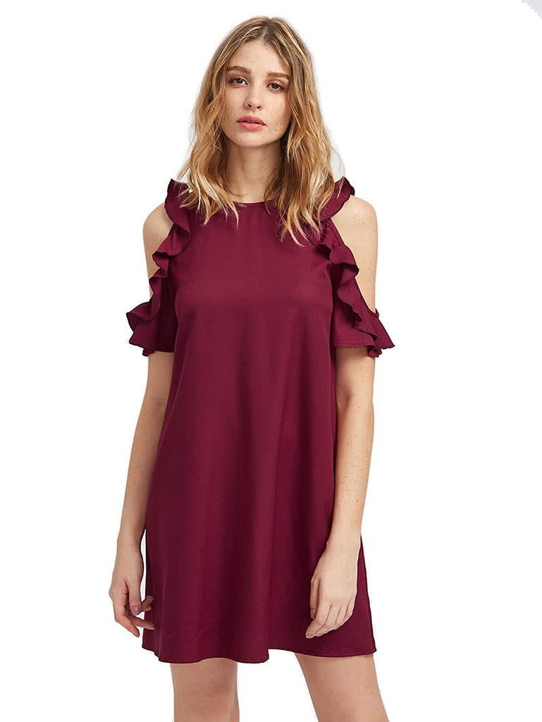 Milumia Women's Summer Cold Shoulder Ruffle Sleeves Shift Dress