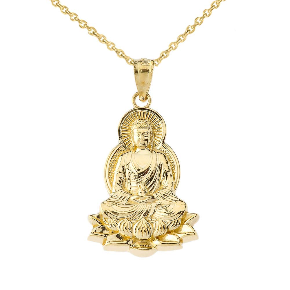Fine 14k Yellow Gold Buddha on a Lotus Flower Pendant Necklace