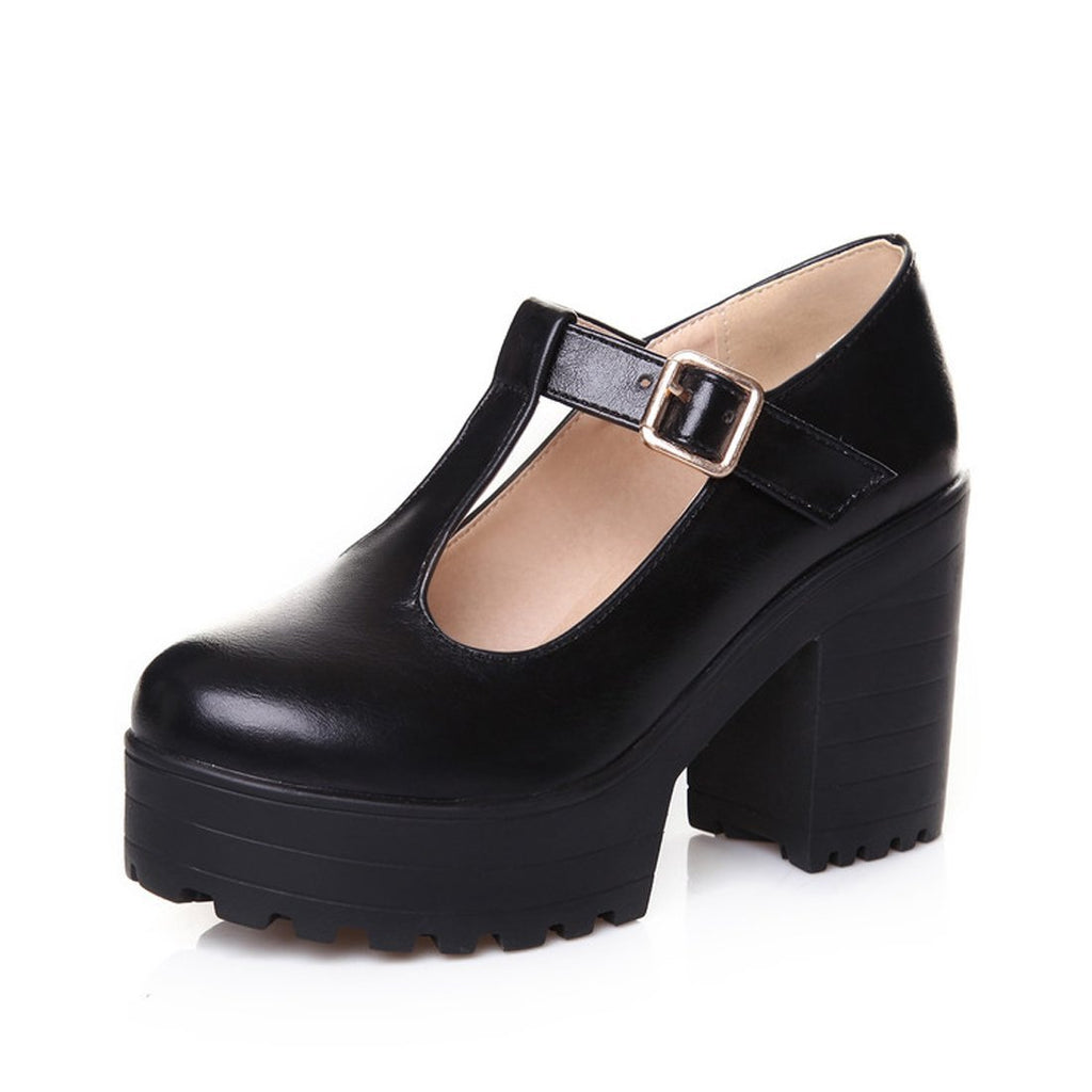 Milesline Fashion Women's Round Toe Platform Shoes T-Strap Chunky Heel Mary Jane Pumps
