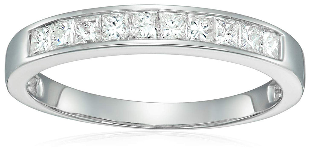 1/2 CT Princess Cut Wedding Band in 14K White Gold