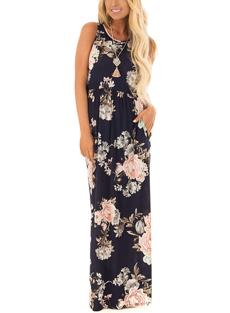 ZRMY Women's Floral Print Sleeveless Tunic Maxi Dress Casual Racerback Beach Long Dress Pockets