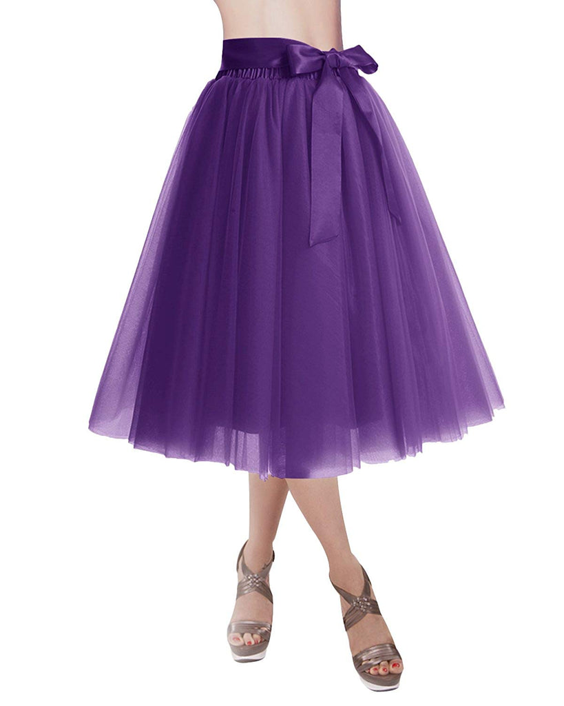 DRESSTELLS Knee Length Tulle Skirt Tutu Skirt Evening Party Gown Prom Formal Skirts