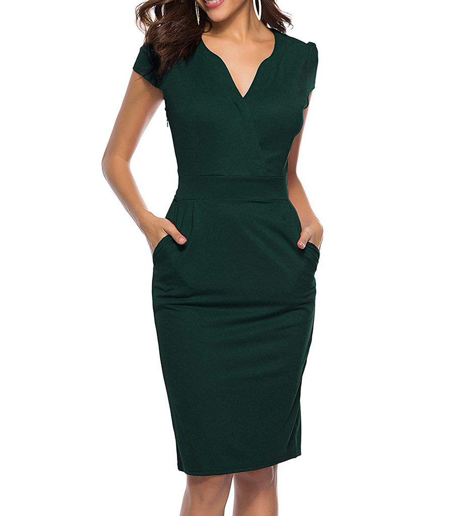 CEASIKERY Women's Business Retro Cocktail Pencil Wear to Work Office Casual Dress
