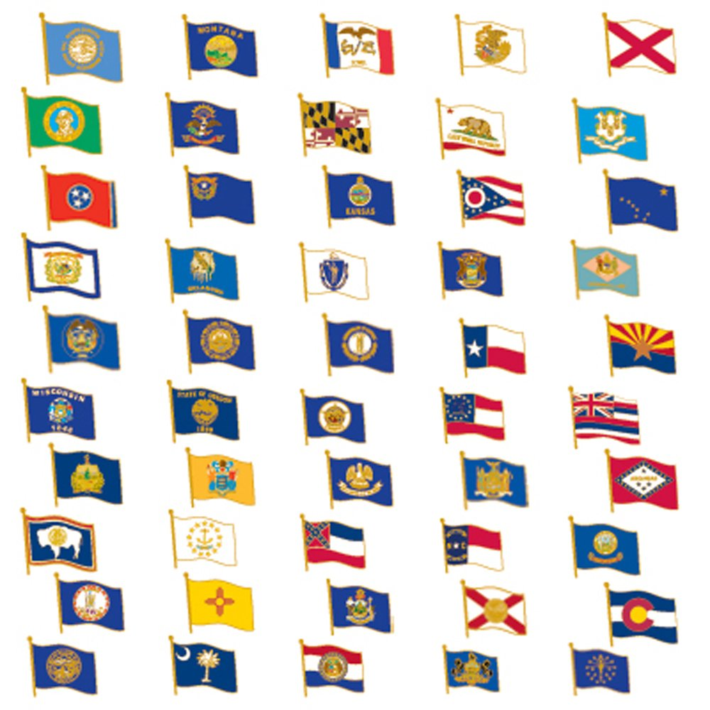 PinMart 50 US State Flag Enamel Lapel Pin Collection Value Pack