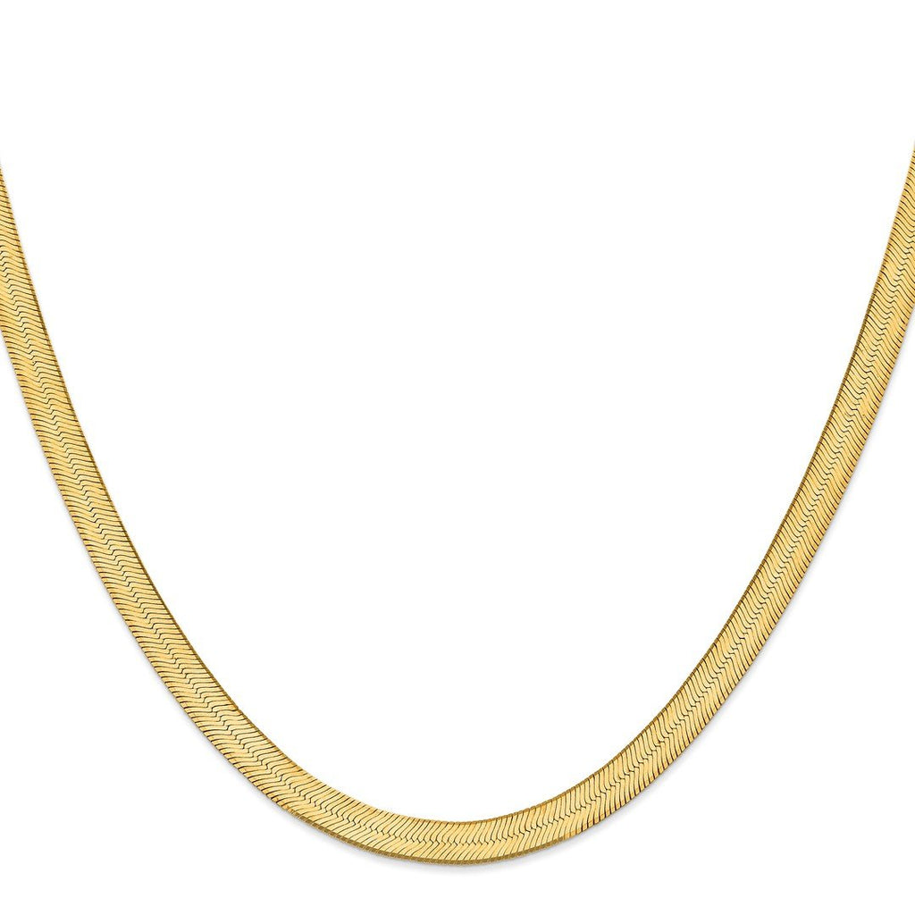 14k Yellow Gold 6.5mm Silky Link Herringbone Chain Necklace Pendant Charm Fine Jewelry For Women Gift Set
