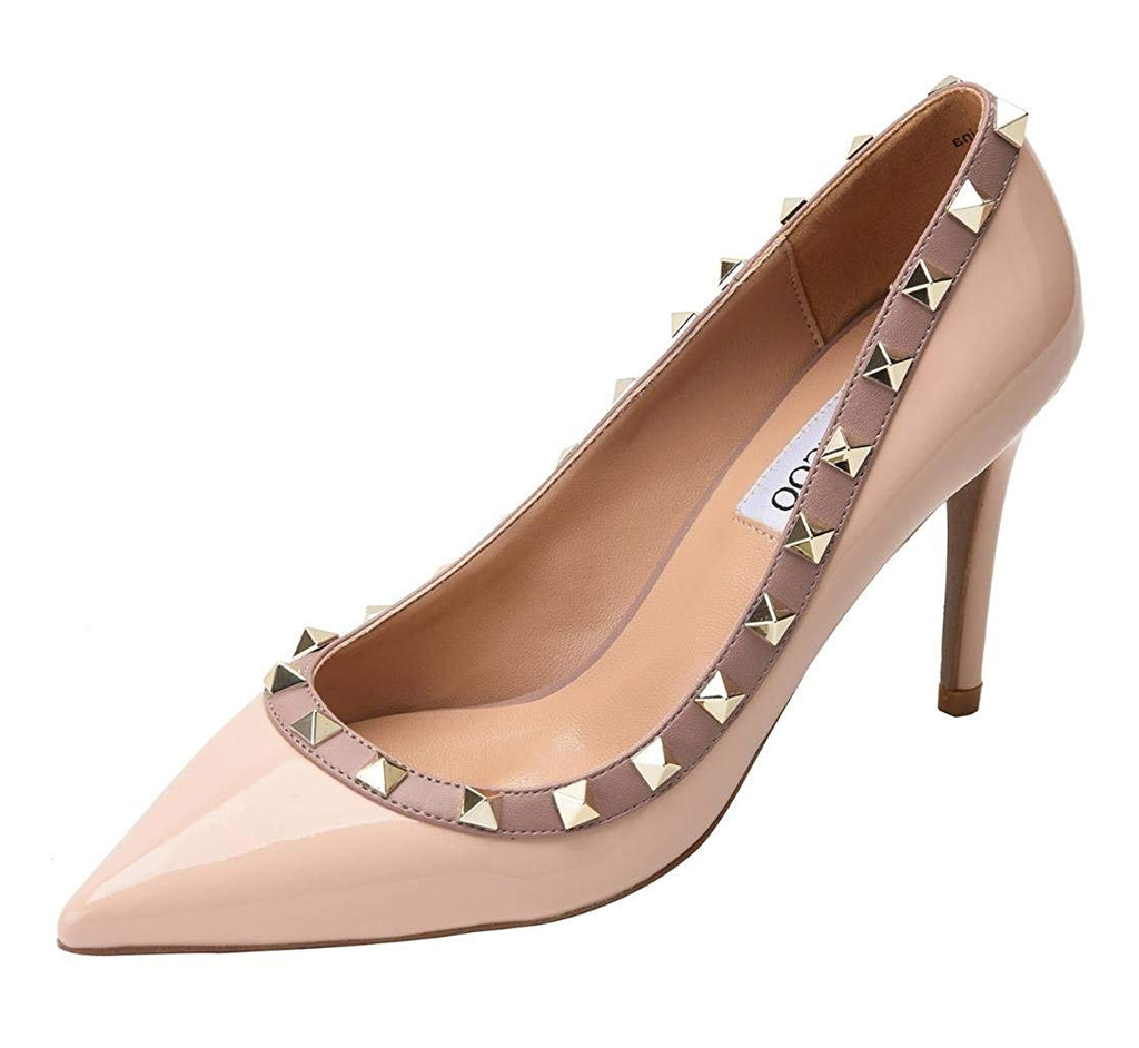 Women's Classic Rivets Pointy Toe Stilettos Slip On Pumps High Heel Party Wedding Dress Shoes