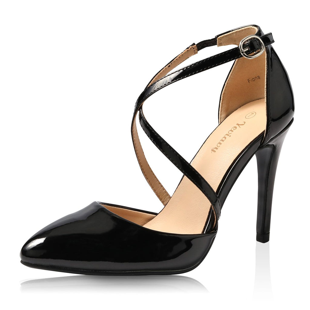 Yeviavy High Heels for Women Pumps Dress Pointed Toe Shoes Strappy Stiletto Buckle Closure D'Orsay Finona