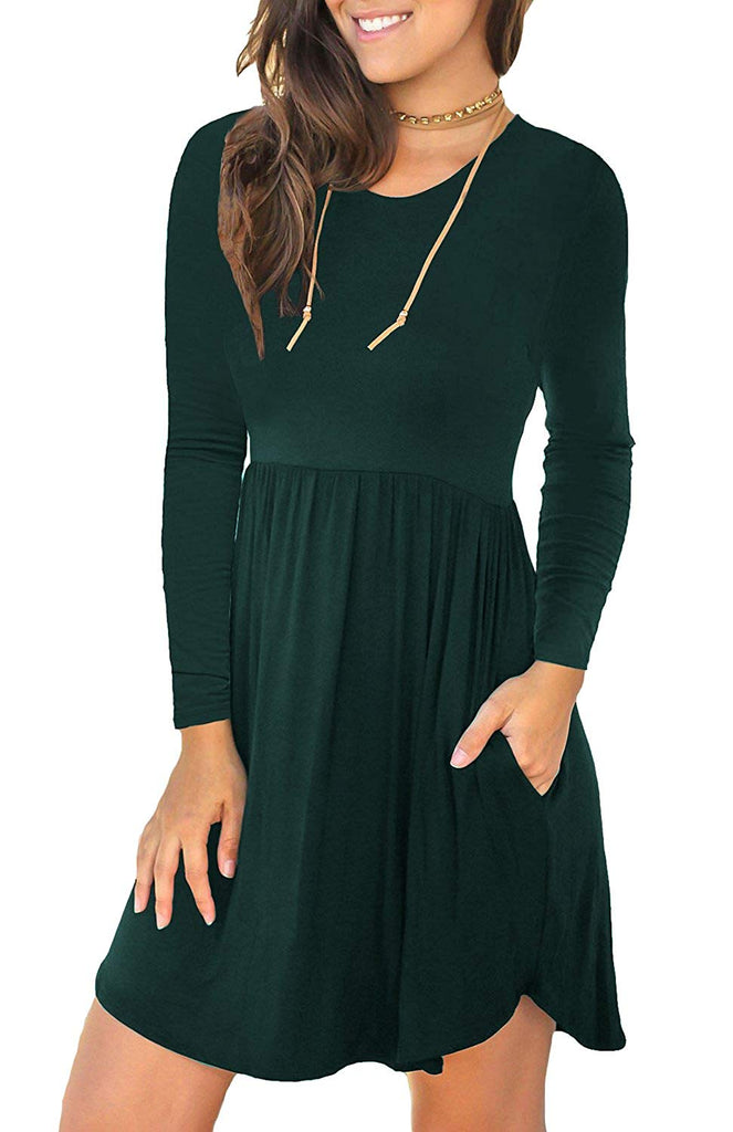 LONGYUAN Women's Long Sleeve Loose Plain Dresses Casual Short Swing Dress with Pockets