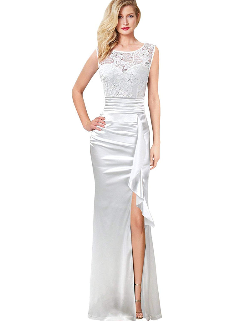 VFSHOW Womens Formal Ruched Ruffles Evening Prom Wedding Party Maxi Dress