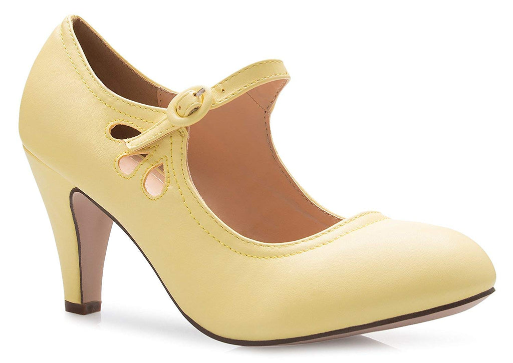 OLIVIA K Women's Kitten Heels Mary Jane Pumps - Adorable Vintage Shoes- Unique Round Toe Design with an Adjustable Strap