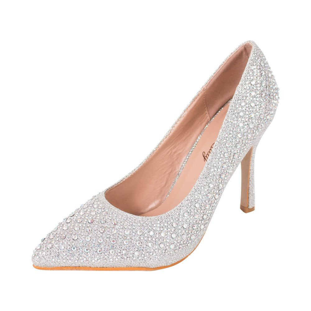 Mila Lady MAYRA06 Princess Sparkle Crystal Gem Rhinestone Glitter Formal Pumps, Wedding Shoes Evening Dress Heels for Women