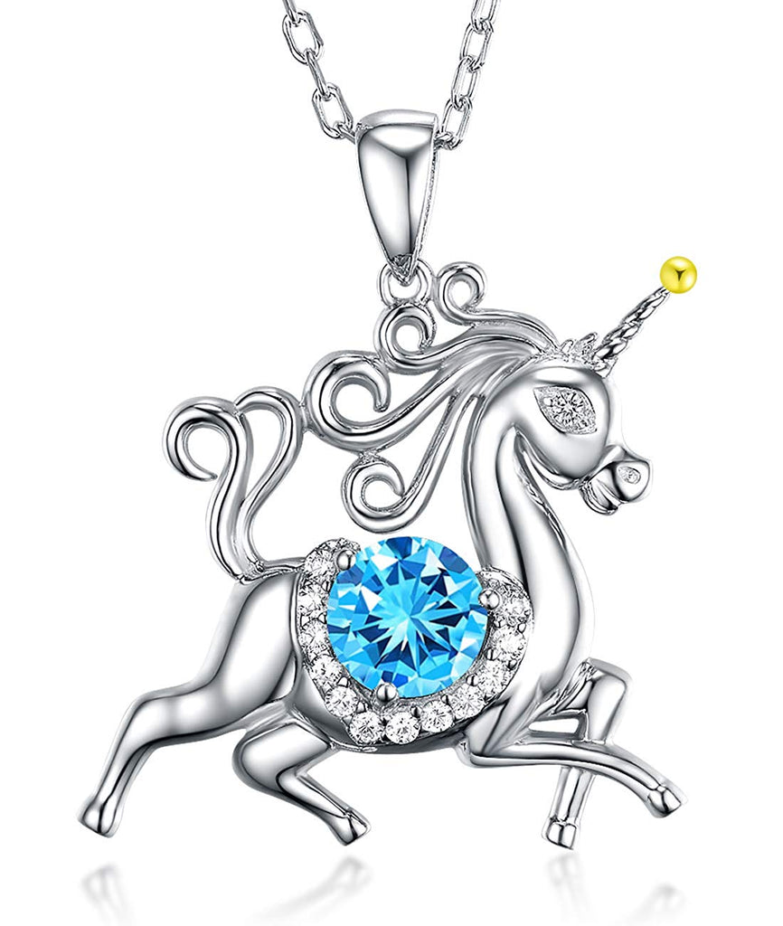 Unicorn March April Birthstone Aquamarine Diamond Swarovski Jewelry Birthday Gifts for Women Girls Natural Amethyst Animal Sterling Silver Necklace