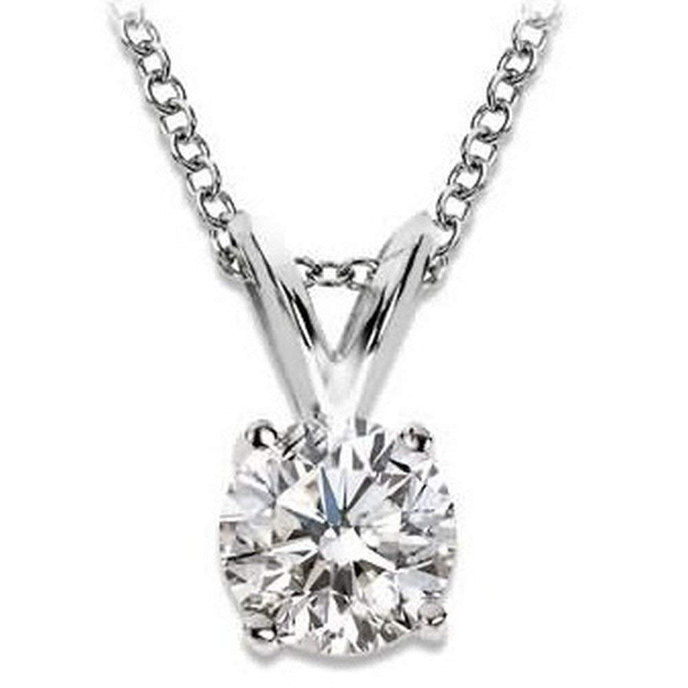 2/3 Carat 4 Prong Solitaire Basket Diamond Pendant Necklace 14K White Gold (J, I2, 0.6 ctw)