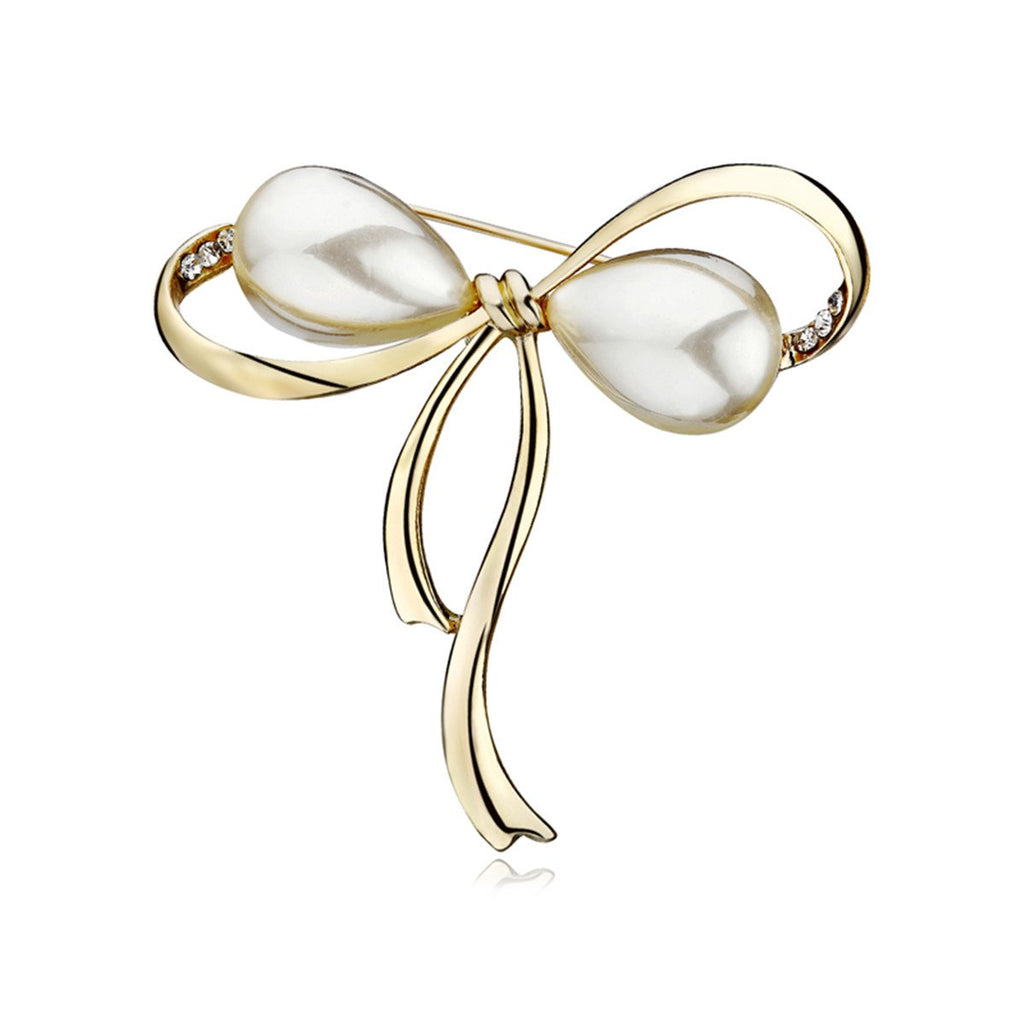 OCTCHOCO Bow Brooches Imitation Pearl Simple Bowknot Clip Pin for Women Dress Shawl (Gold)