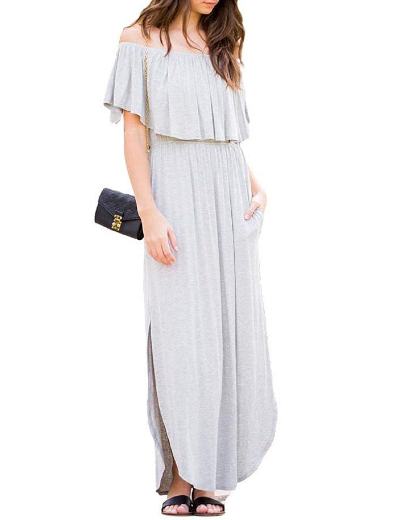 Womens Off The Shoulder Ruffle Party Dresses Side Split Beach Maxi Dress