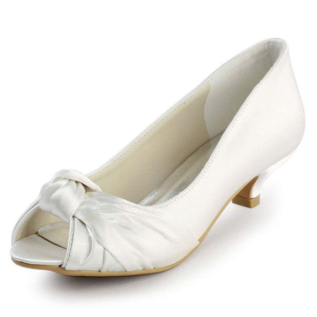 ElegantPark EP2045 Women's Peep Toe Low Heel Knot Bridal Wedding Shoes