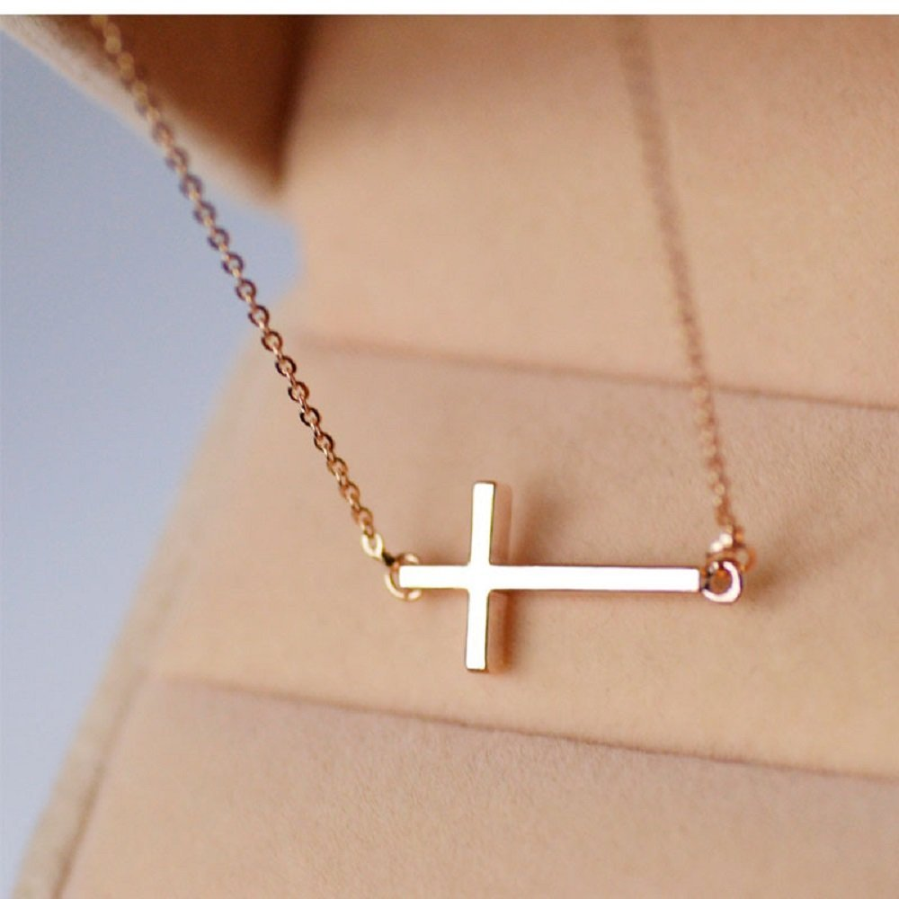 Ghome Sideways Cross Necklace 18k Gold Plated Stainless Steel Simple Small Cross Pendant from Offer Silver or Gold Color 18 Inches for Women Girls wit
