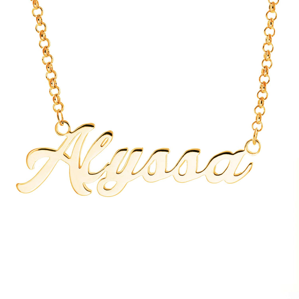 LAOFU Personalized Name Necklace Pendant Custom Made Necklace with Name 14k Gold Gifts for Women