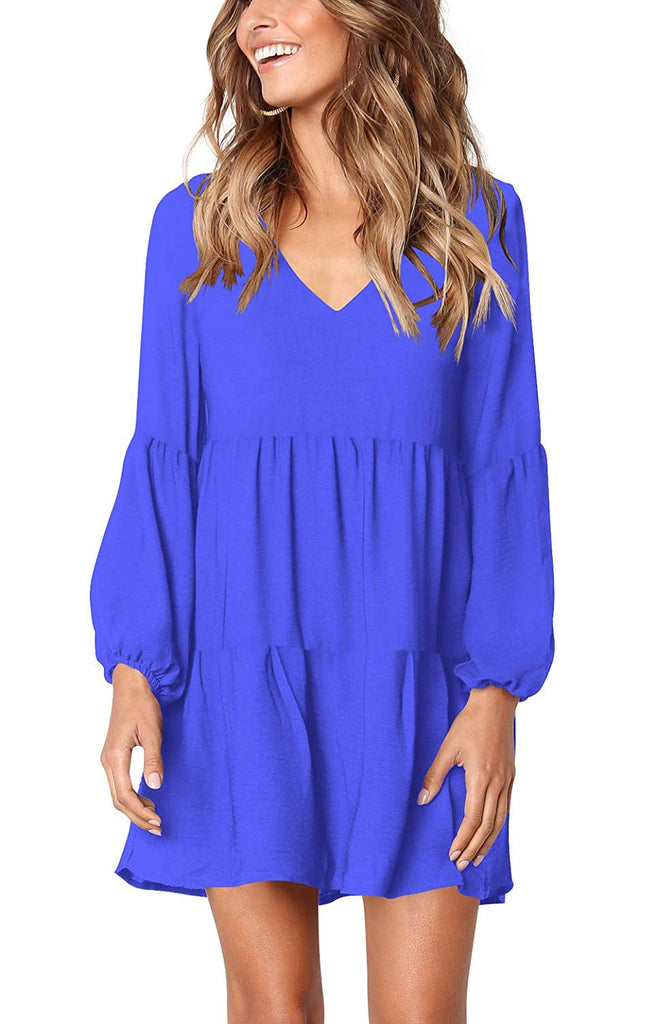 FHKDL Women's Long Sleeve Tunic Dress Casual Ruffle Swing Short Dresses