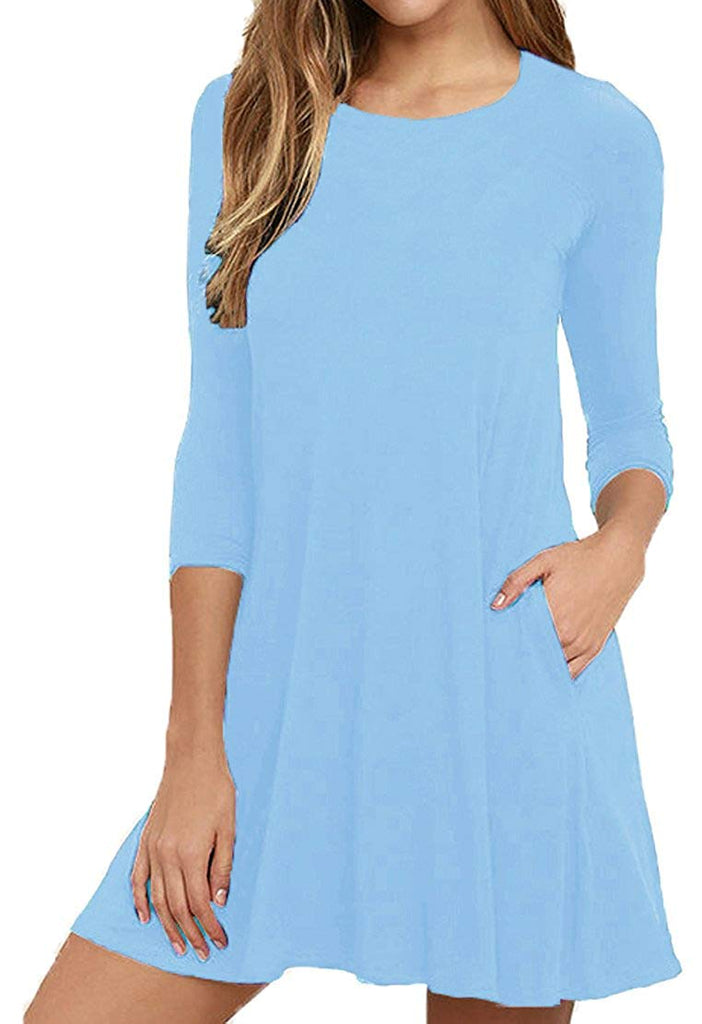 Viishow Womens Round Neck 3/4 Sleeves A-line Casual Tshirt Dress with Pocket