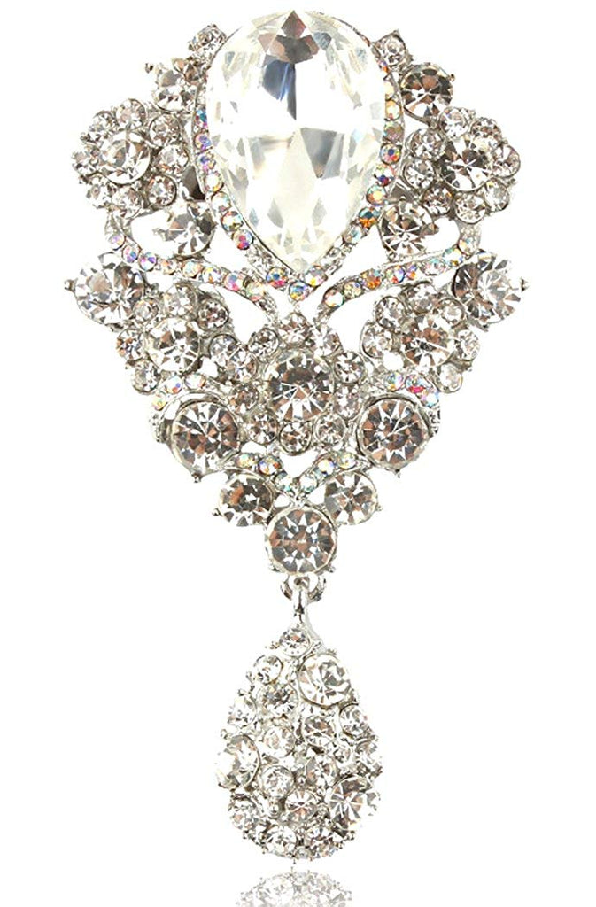 Gyn&Joy Women's Austrian Crystal Silver-Tone Bouquet Flower Teardrop Large Gorgeous Brooch Pin