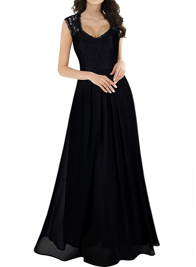 Miusol Women's Casual Deep- V Neck Sleeveless Vintage Wedding Maxi Dress