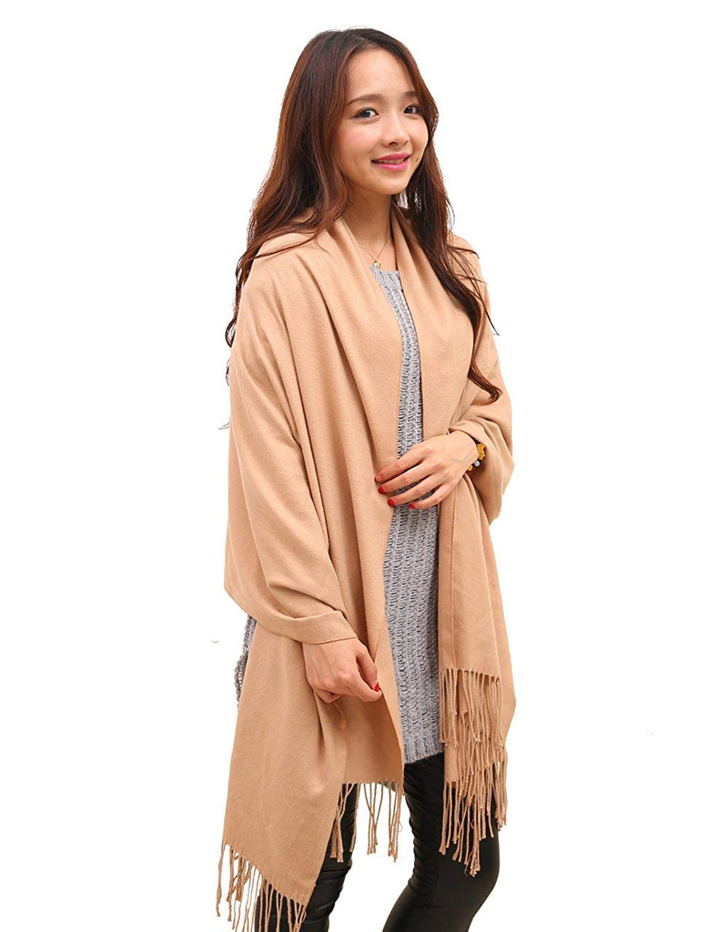 Anboor Cashmere Feel Blanket Scarf Super Soft with Tassel Solid Color Warm Shawl for Women