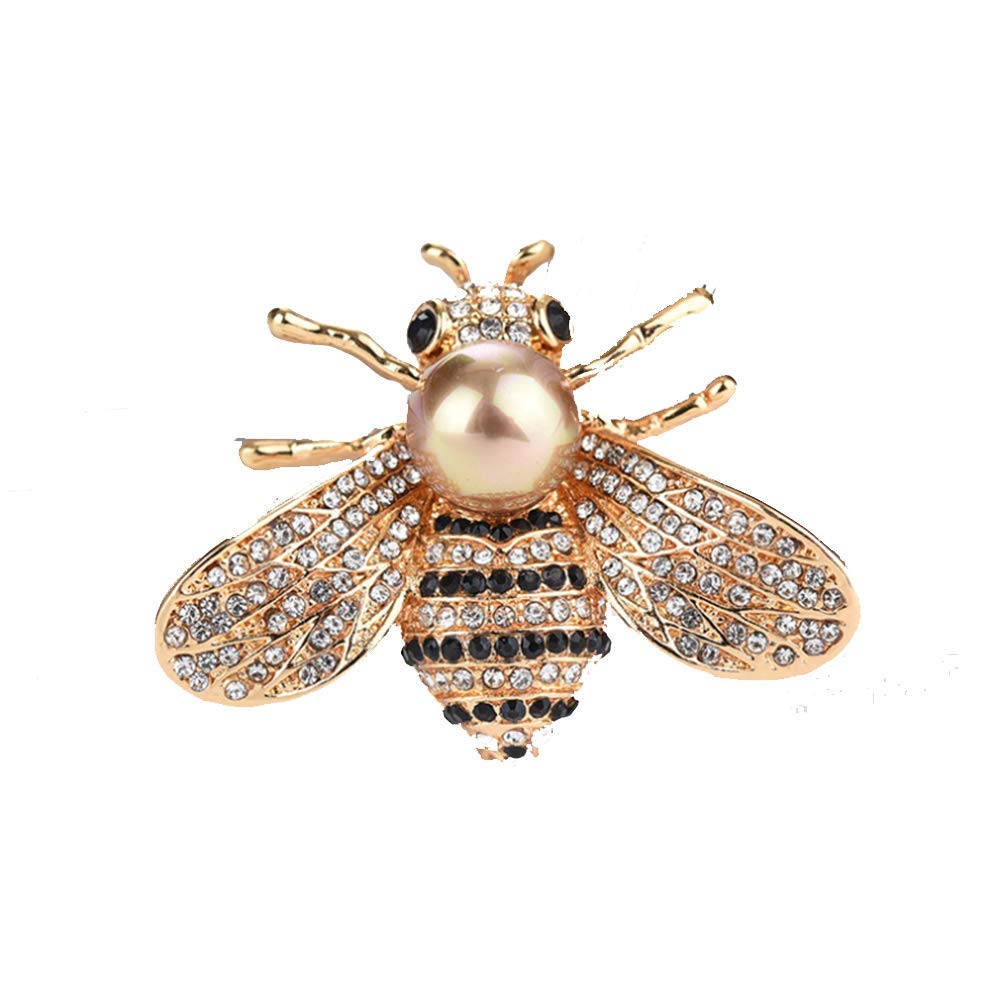 TULIP LY Honey Bee Brooches Crystal Insect Themed Bee Brooch Animal Fashion Shell Pearl Brooch Pin Gold Tone