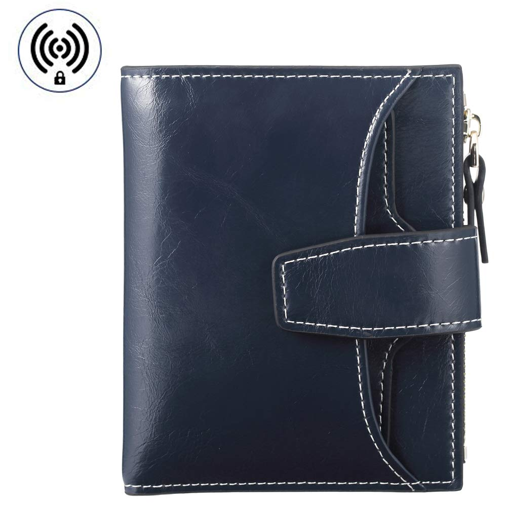 FT FUNTOR RFID Leather Wallet for women,Ladies Small Compact Bifold Pocket Wallet with id Window