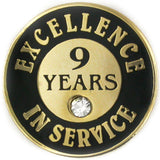 PinMart Gold Plated Excellence in Service Enamel Lapel Pin w/Rhinestone - 9 Years