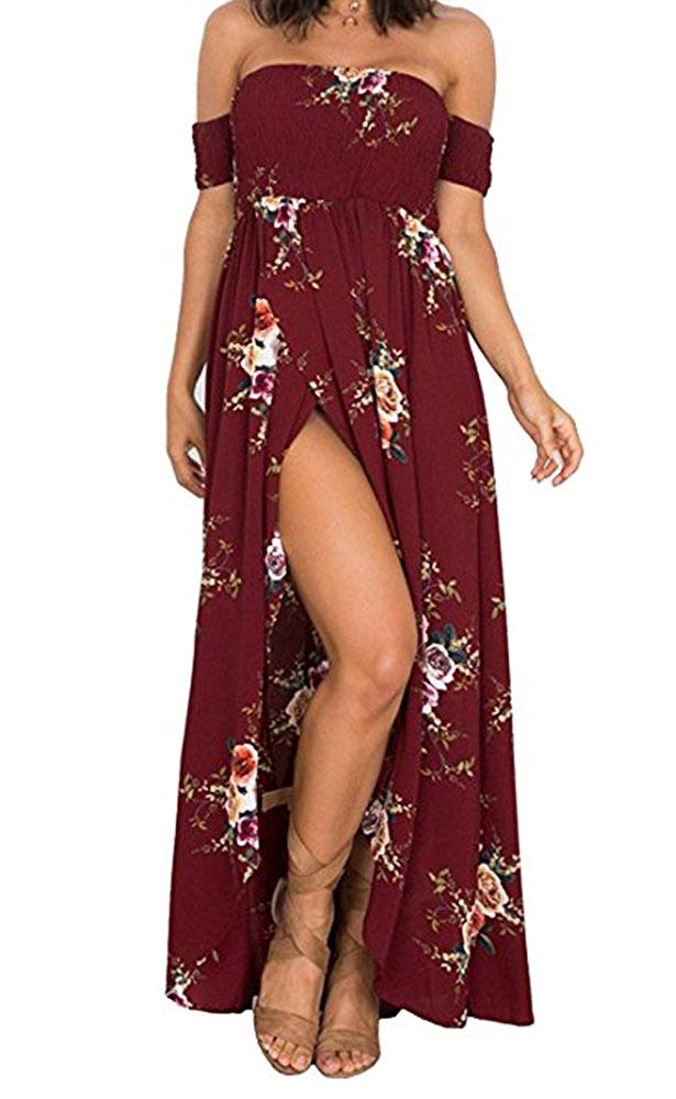 SVALIY Women Floral Off The Shoulder Split Chiffon Maxi Beach Dress Wedding Party