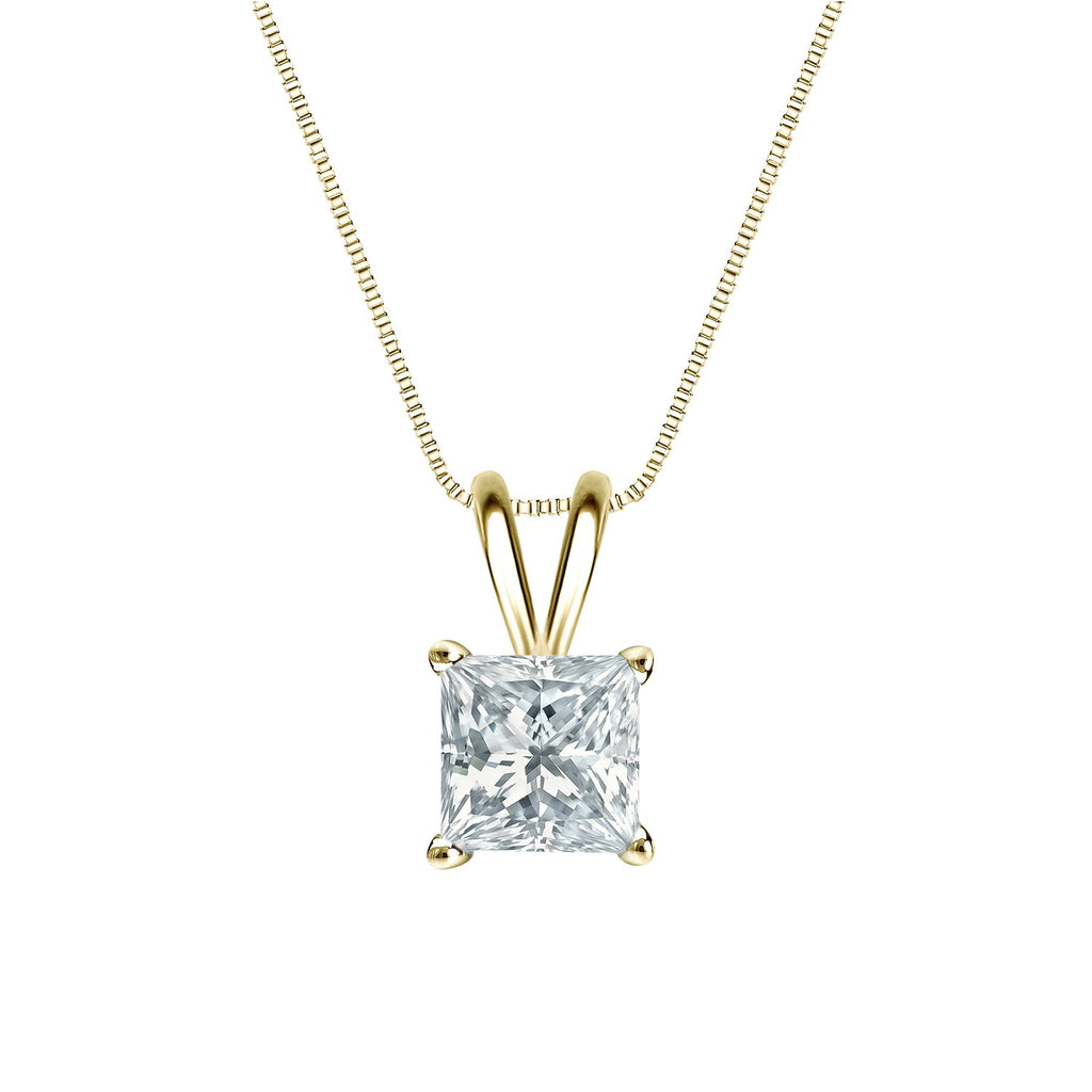 "Diamond Wish 18k Yellow Gold Princess-Cut Diamond Solitaire Pendant Necklace (1/2 ct, G-H, VS2-SI1) 4-Prong Basket set with 18"" Chain"