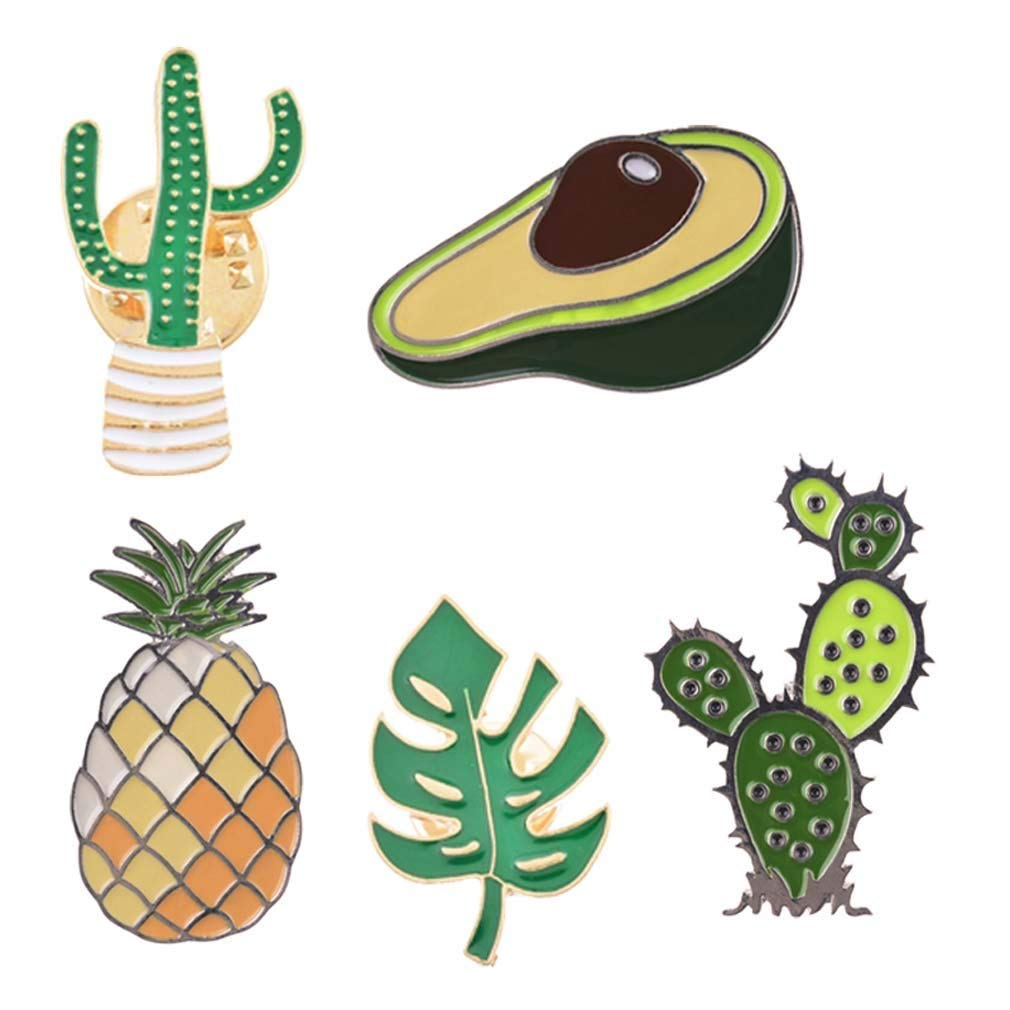 MJartoria 5PCS Cute Pins for Backpack-Cartoon Cactus Pineapple Enamel Cool Brooch Pin Badges Set for Backpack Clothes Bags