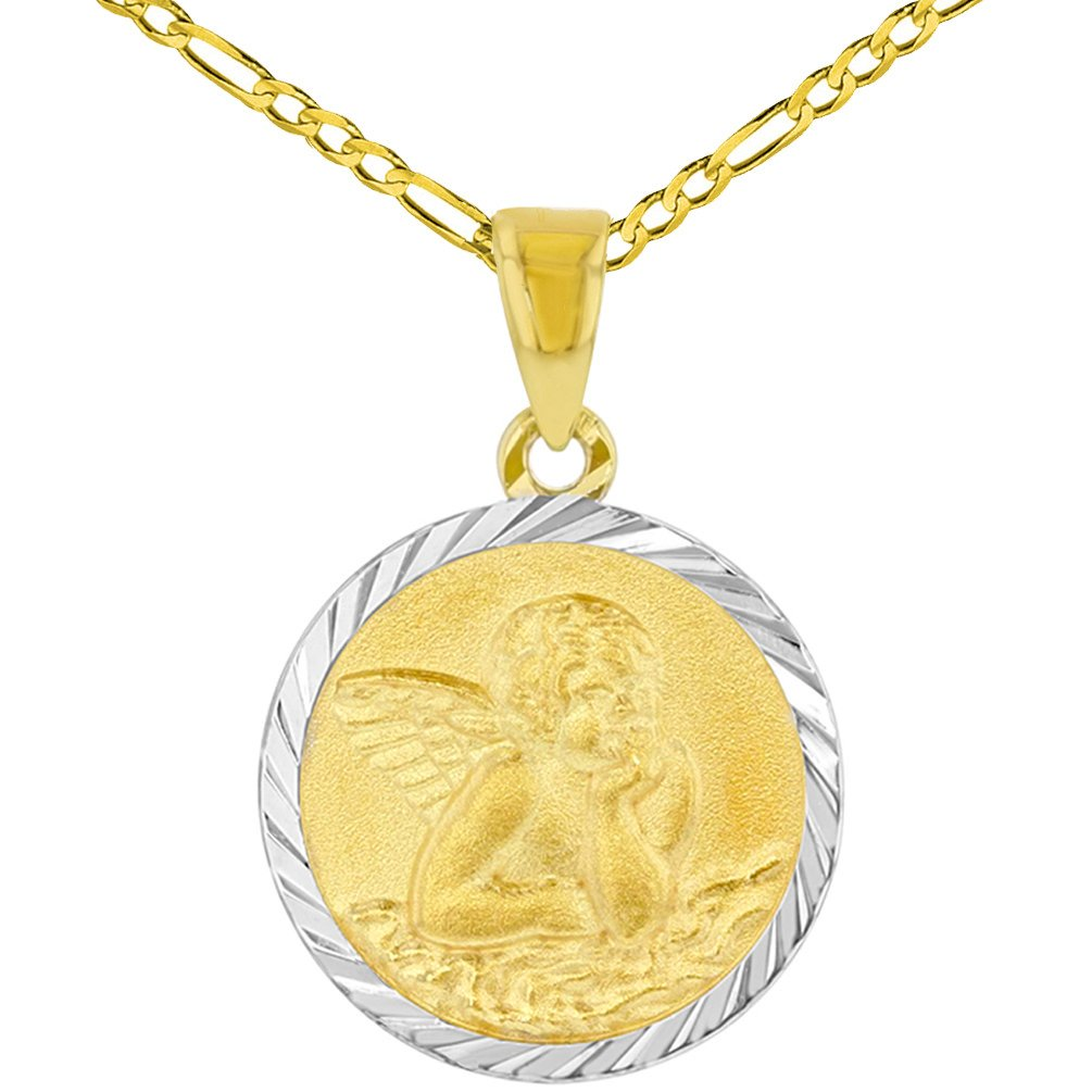 14k Yellow Gold Round Baptism Charm Guardian Angel Textured Medallion Pendant Figaro Chain Necklace