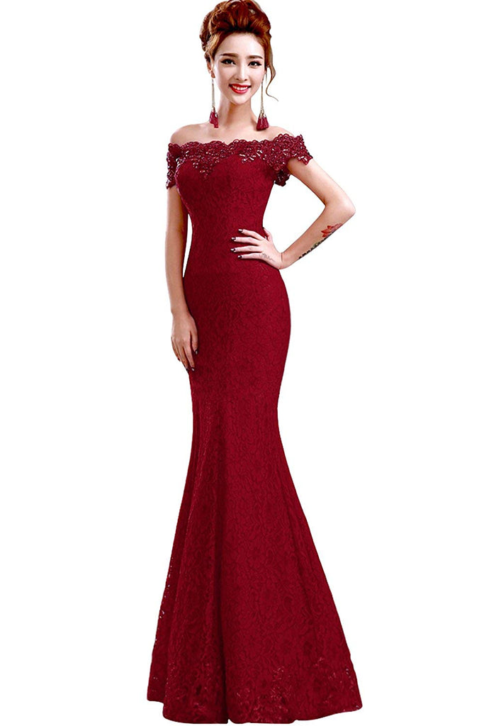 Babyonlinedress Babyonline Off Shoulder Lace Red Mermaid Evening Formal Bridesmaid Dress