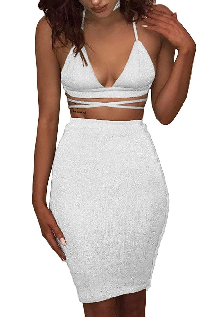 ioiom Women's Glitter V Neck Halter Backless Sleeveless Bandage Bodycon Midi Dress