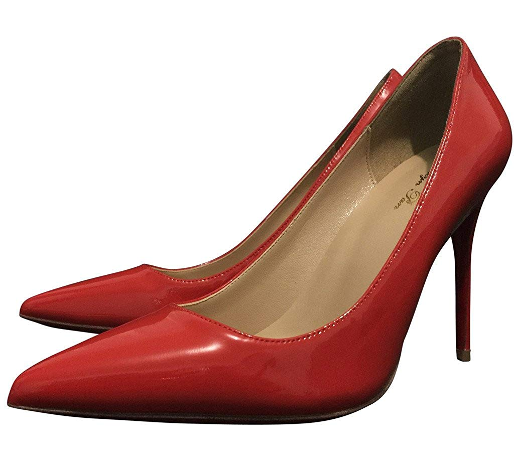 Kaitlyn Pan Genuine Leather All Red High Heel Stiletto Pumps