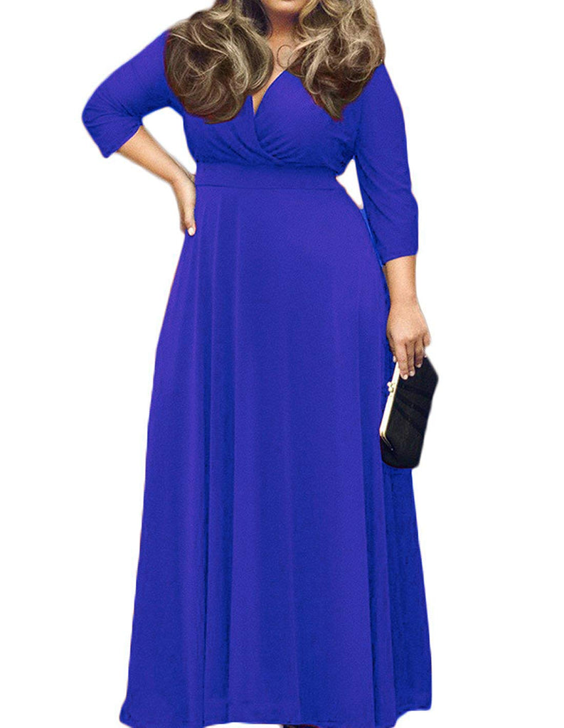POSESHE Women's Solid V-Neck 3/4 Sleeve Plus Size Evening Party Maxi Dress