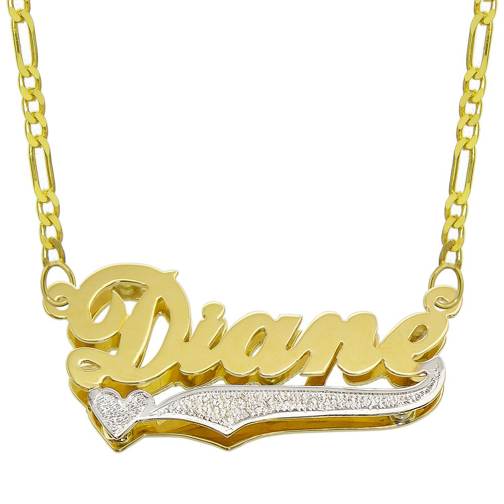 Pyramid Jewelry 14K Two Tone Gold Personalized Double Plate 3D Name Necklace - Style 6 - Customize Any Name